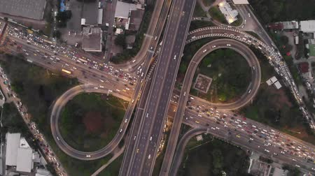 Bangkok Expressway Road traffic an important infrastructure in Thailand - Aerial top view photo from flying drone Stock mozgókép