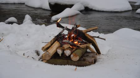 Fire on the snow in forest Stock Footage