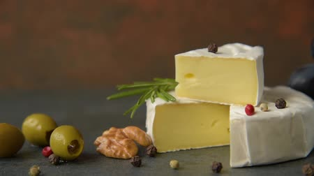 processed : Camembert with olives Stock Footage