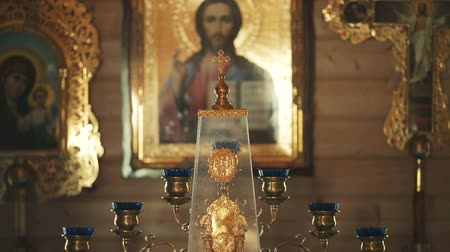 baptismal : the throne in the Orthodox Church Stock Footage