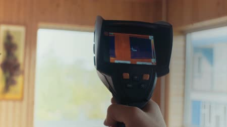 thermography : window heated, the readings of a thermal imager Stock Footage