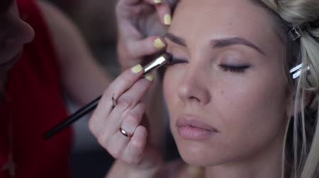 curly haired : Close-up. Makeup artist stylist makes an image for a girl in a beauty salon Stock Footage