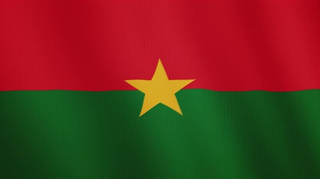flama : Burkina Faso flag waving animation. Full Screen. Symbol of the country. Stok Video