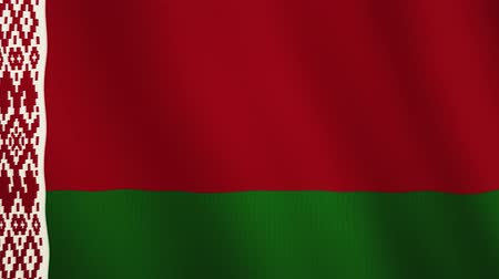 white cloths : Belarus flag waving animation. Full Screen. Symbol of the country. Stock Footage