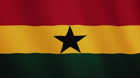 alegori : Ghana flag waving animation. Full Screen. Symbol of the country. Stok Video