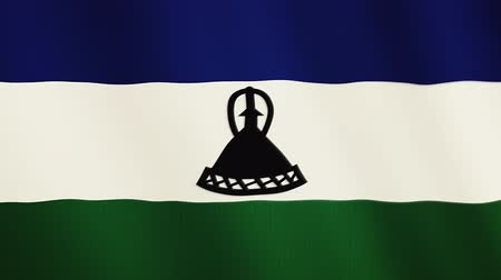 alegori : Lesotho flag waving animation. Full Screen. Symbol of the country. Stok Video