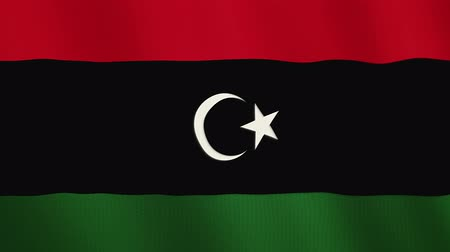 libya : Libya flag waving animation. Full Screen. Symbol of the country. Stock Footage