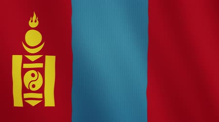 moğolistan : Mongolia flag waving animation. Full Screen. Symbol of the country. Stok Video