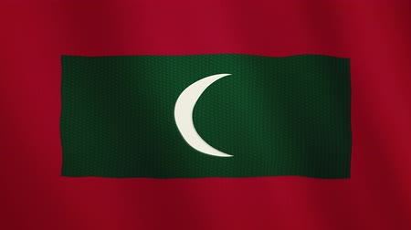 maldivler : Maldives flag waving animation. Full Screen. Symbol of the country.