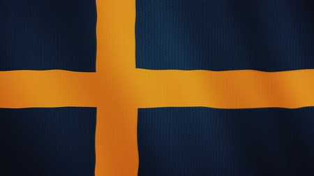 İsveççe : Sweden flag waving animation. Full Screen. Symbol of the country.
