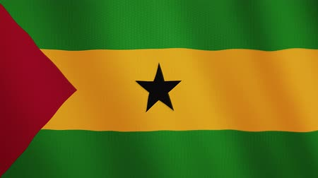 tome : Sao Tome and Principe flag waving animation. Full Screen. Symbol of the country.