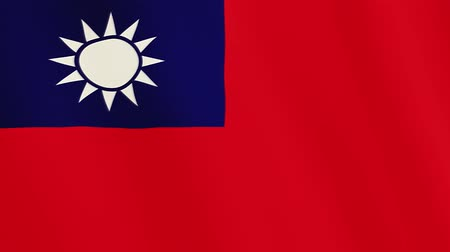 tainan : Taiwan flag waving animation. Full Screen. Symbol of the country. Stock Footage