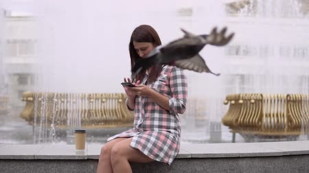 kahve molası : A girl sits near a fountain in the park and uses a smartphone. slow motion. Stok Video