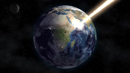 meteorite : The flow of solar energy burns the planet earth in space. Apocalypse