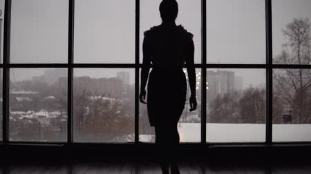 босс : business woman comes to the window in the office. 4k