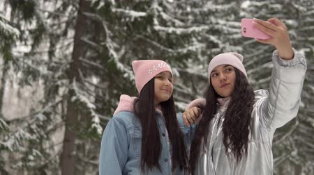 gt : Two young girlfriends make selfie on the background of the winter forest using a smartphone. 4K Stock Footage