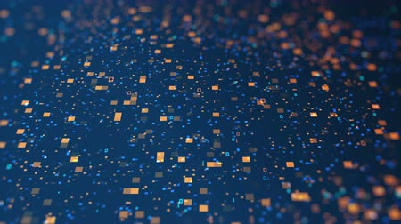 complexo : 3d blue orange digital data code. Futuristic concept of information technology. Computer animation of seamless loop Stock Footage