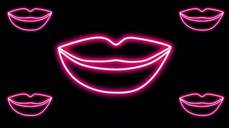 fluorescent : Abstract background. neon glowing lips open and close on a black background