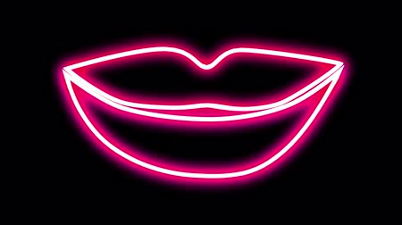 Abstract background. NEON LIGHTING LIPS OPEN AND CLOSE. Neon lips kiss