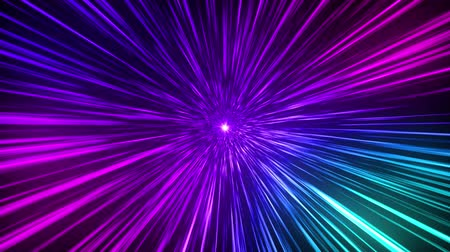 Colorful tunnel. Abstract creative cosmic background. Hyper jump into another galaxy. Speed of light, neon glowing rays in motion. Beautiful fireworks, colorful explosion, big bang