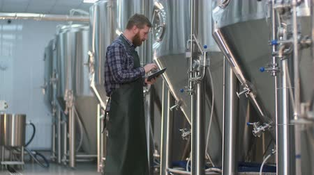 A male brewer with a beard monitors the readings on beer tanks using a tablet. Craft beer production