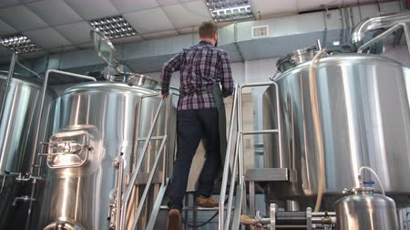 beczka : A male brewer in an apron with a beard goes up the stairs to the beer tank, looks in and takes a reading.