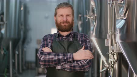 Portrait businessman male brewer with a beard looking at the camera while standing in a brewery