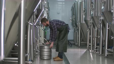 A male brewer with a beard connects a keg to a beer tank and fills it with beer. Wideo