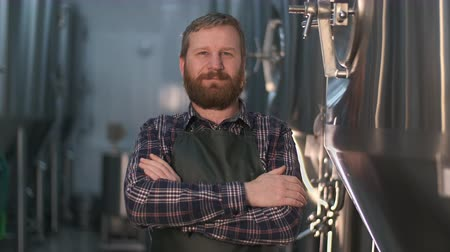 сложены : Portrait of a brutal brewer businessman with a beard in a beer factory Стоковые видеозаписи