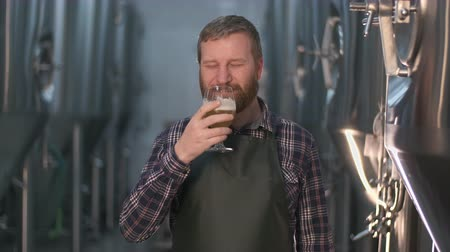 a male brewer with a beard tastes freshly brewed beer from a beer tank while standing in a beer factory