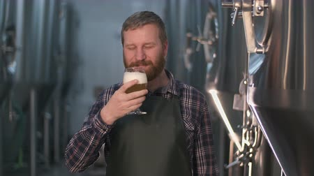 a male brewer with a beard evaluates freshly brewed beer from a beer tank while standing in a beer factory