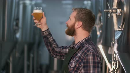 Successful businessman brewer with a beard checks the quality of freshly brewed beer from a beer tank while standing in a beer production room.