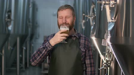 fabricado cerveja : Portrait of a successful businessman brewer with a beard demonstrates the quality of freshly brewed beer in a glass from a beer tank while standing in the craft beer production room