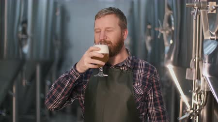 Portrait. An adult male brewer checks the color of freshly brewed beer from a beer tank while standing in a beer factory.