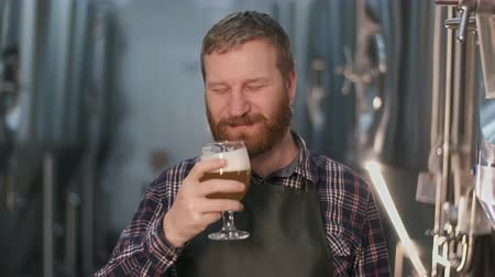 Portrait. Businessman male brewer checks the color of freshly brewed beer from a beer tank while standing in a beer factory.
