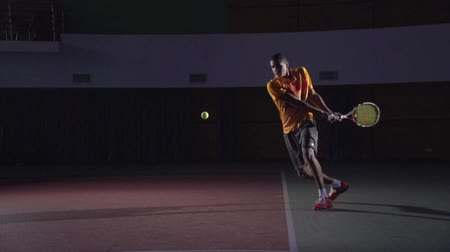 tennis game : Tennis shots: Backhand (slow motion)