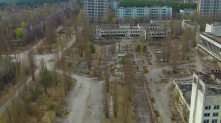 sarcophagus : Pripyat ghost town near Chernobyl Aerial Central square