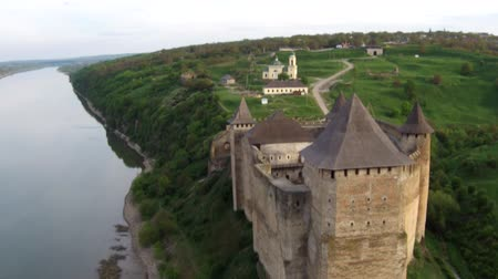 tatar : Flying near medieval fortification complex. The Khotyn Fortress  is  located on the right bank of the Dniester River in Khotyn Ukraine.