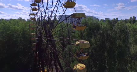 nuclear accident : A Ferris wheel in Pripyat, near Chernobyl Aerial, 4K