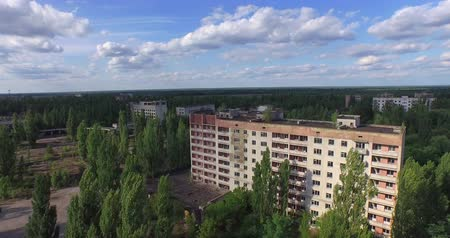 chernobyl : The Abandoned City of Pripyat near Chernobyl Aerial, 4K