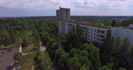 nuclear accident : The Abandoned City of Pripyat near Chernobyl Aerial, 4K