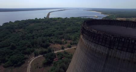 sarcophagus : Cooling tower unfinished srade of the Chernobyl nuclear power plant Aerial