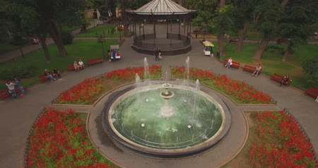 сады : Round fountain in city garden. Top view from the drone Стоковые видеозаписи