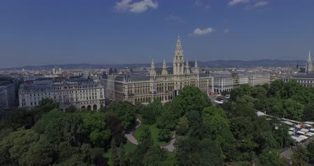 rathauspark : Rathaus Vienna - Town Hall Rathauspark. Aerial View.The present Vienna City Hall Rathaus in Austria. Aerial