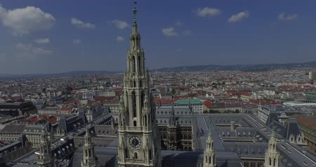 rathauspark : Rathaus Vienna - Town Hall Rathauspark. Aerial View.The present Vienna City Hall Rathaus in Austria. Stock Footage