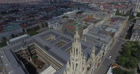 rathauspark : Rathaus Vienna - Town Hall, Aerial View. The present Vienna City Hall Rathaus in Austria. Aerial