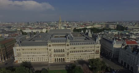 rathauspark : Rathaus Vienna - Town Hall Rathauspark. Aerial View.The present Vienna City Hall Rathaus in Austria. Unusual view from the back yard. Stock Footage