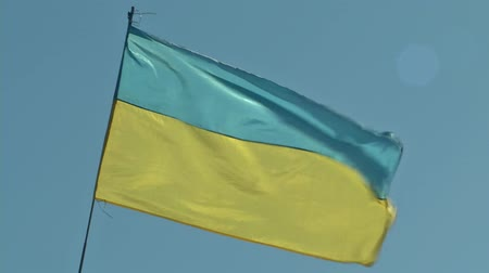 authorities : Flag of Ukraine waving in the wind. The state flag of Ukraine. Stock Footage