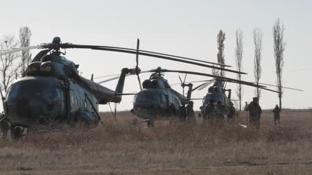 společenská místnost : Military helicopters on the field. Three Mil Mi-8 Soviet-designed medium twin-turbine transport helicopters