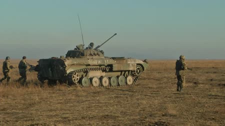 military tank : Infantry fighting vehicle on the batlefield. Military armored vehicles training